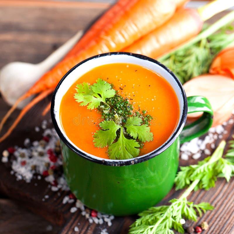 Soupe crème à carotte image libre de droits