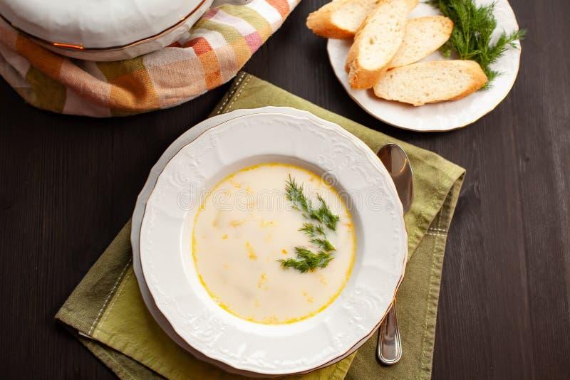Soupe crémeuse à poissons avec des saumons, des pommes de terre, des oignons et des carottes images libres de droits