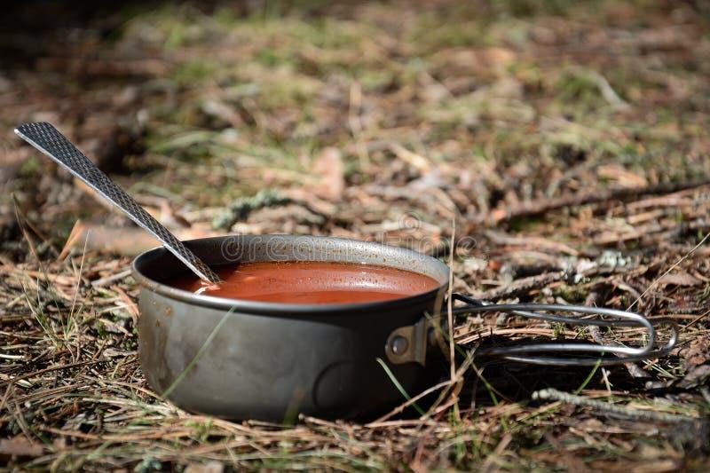 Download Soupe dans la forêt image stock. Image du noir, campfire - 77158413