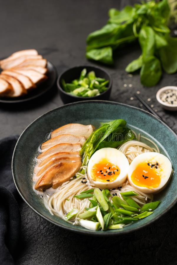 Soupe de nouilles japonaise de Ramen avec le poulet images stock