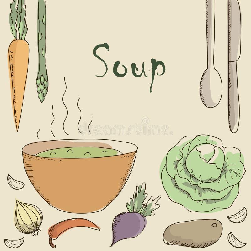 Download Soupe Et Légumes Végétariens Illustration de Vecteur - Illustration du santé, sain: 45370700