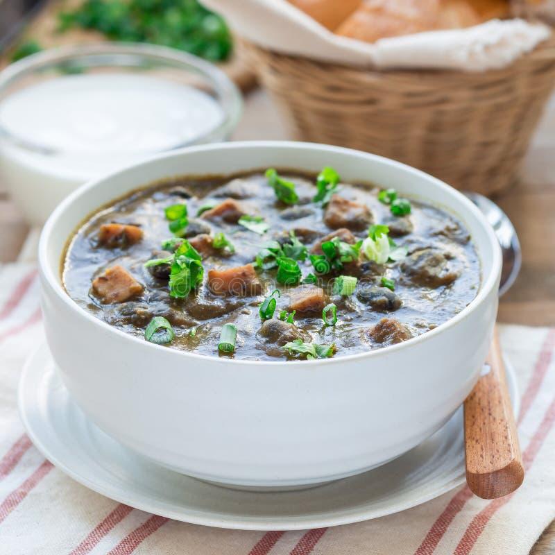Soupe faite maison à haricot noir et à jambon dans la cuvette en céramique sur la table en bois, place images stock