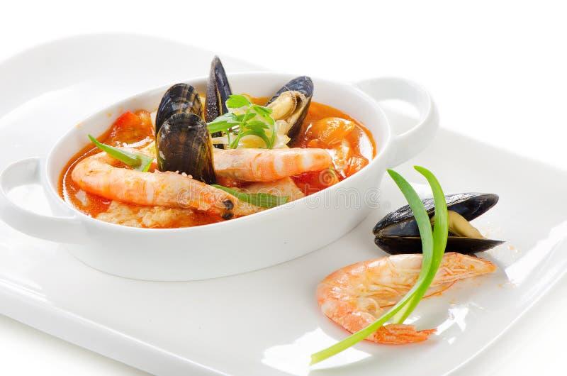 Soupe fraîche à fruits de mer photo stock