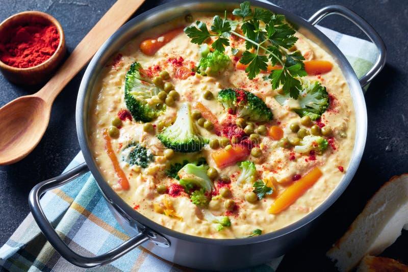 Soupe ? fromage de cheddar de brocoli dans un pot en m?tal image libre de droits