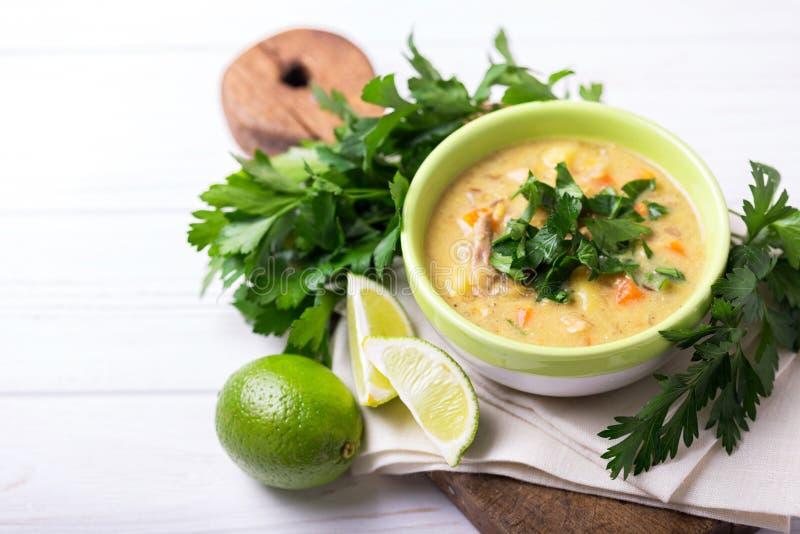Soupe indienne à mulligatawny avec la lentille, persil Copyspace, principal vi photos stock