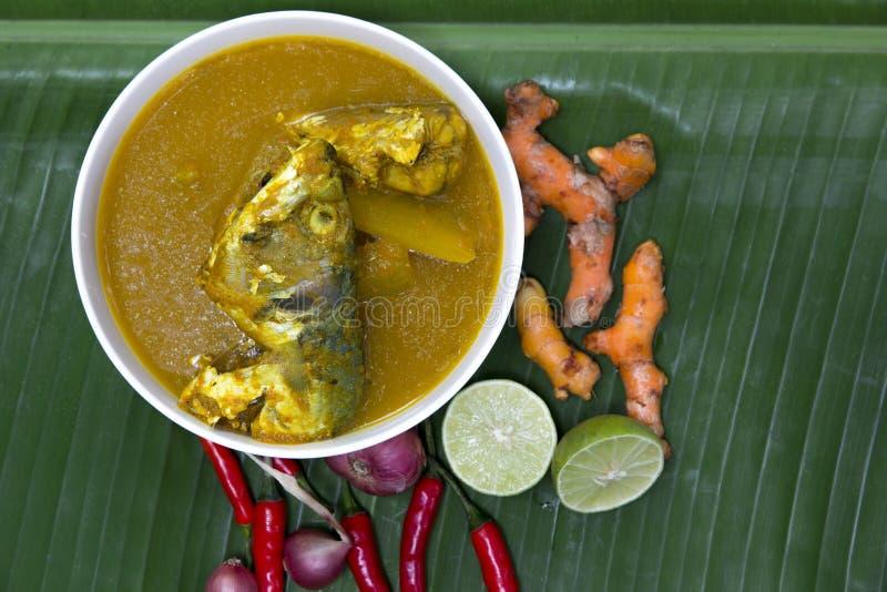 Soupe jaune épicée aigre avec le poisson de mer frais dans la cuvette blanche sur le bana photo stock
