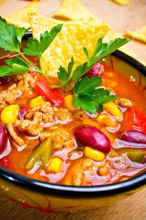 Soupe mexicaine avec des tacos image libre de droits