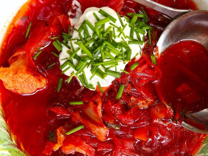 Soupe rouge à betteraves traditionnelles d'Ucrainian - borsch images stock