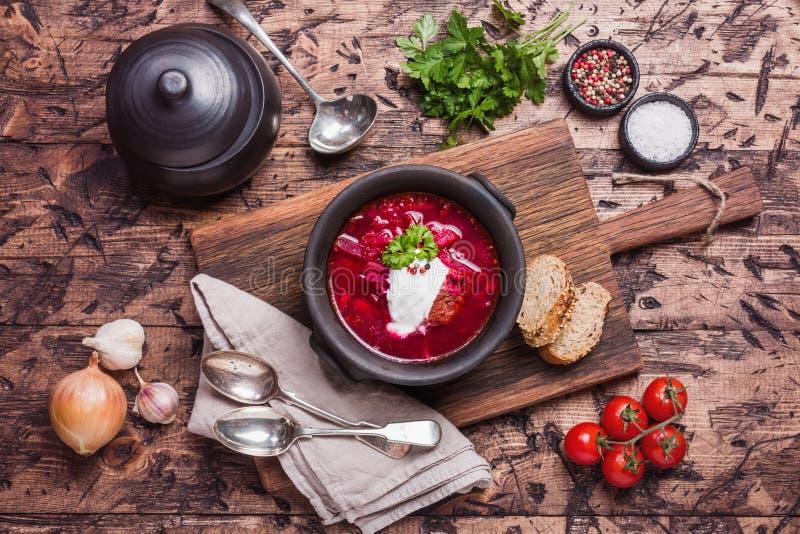 Soupe russe - borscht rouge image libre de droits