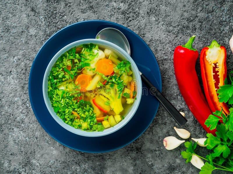 Soupe végétarienne diététique végétale à ressort sain, concentré foncé gris image stock