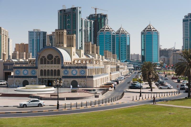 Souq central en la ciudad de Sharja, United Arab Emirates foto de archivo libre de regalías