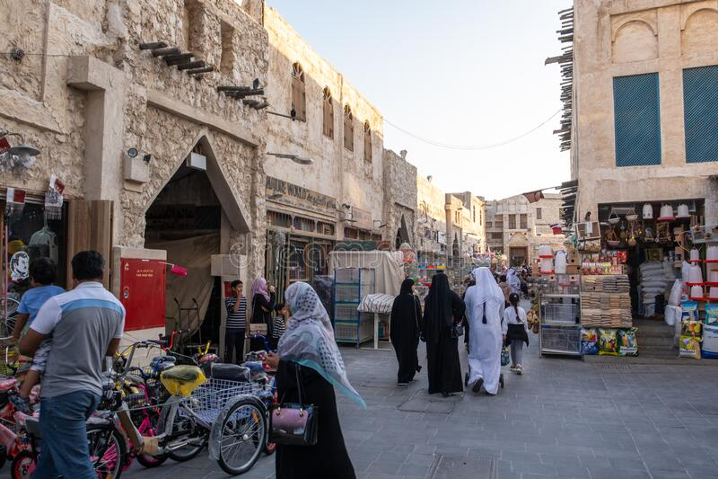 Souq Waqif Doha, Qatar, Mellanöstern royaltyfri fotografi