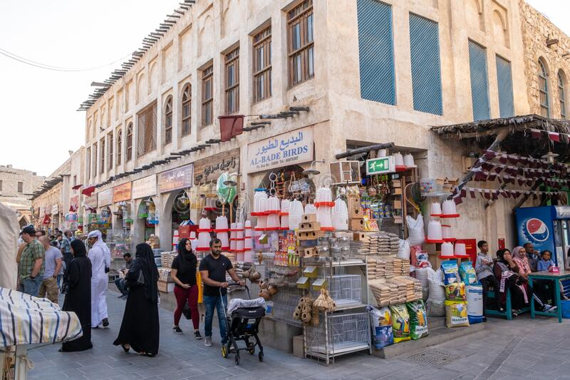 Souq Waqif Doha, Qatar, Mellanöstern royaltyfri bild