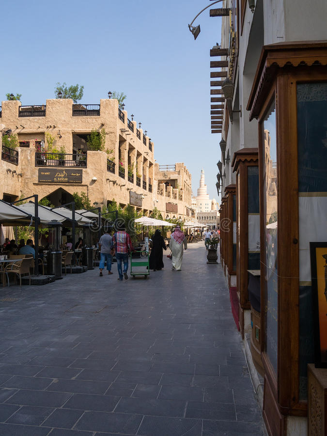 Souq Waqif, Doha, Qatar. Souq Waqif is popular marketplace in Doha, Qatar. The souq is noted for selling traditional garments, spices, handicrafts, and souvenirs stock image