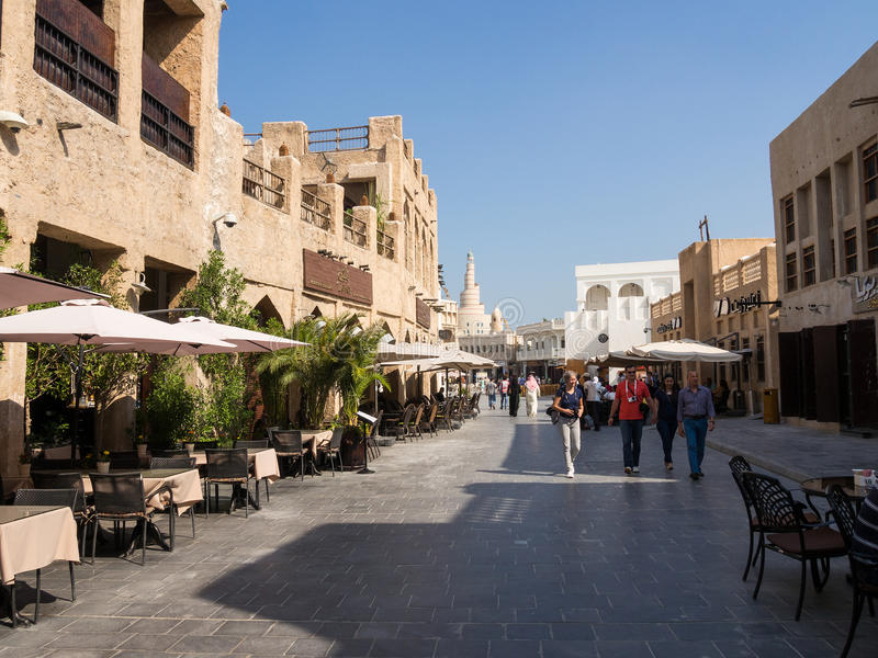 Souq Waqif, Doha, Qatar. Souq Waqif is popular marketplace in Doha, Qatar. The souq is noted for selling traditional garments, spices, handicrafts, and souvenirs royalty free stock photo