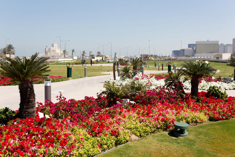 Souq Waqif Park. Flowerbeds in Souq Waqif Park, central Doha, Qatar, beside the Corniche road, with the Museum of Islamic Art and Central Bank buildings beyond stock image