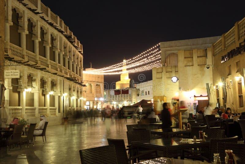 Souq Waqif przy nocą. Doha, Katar obrazy stock