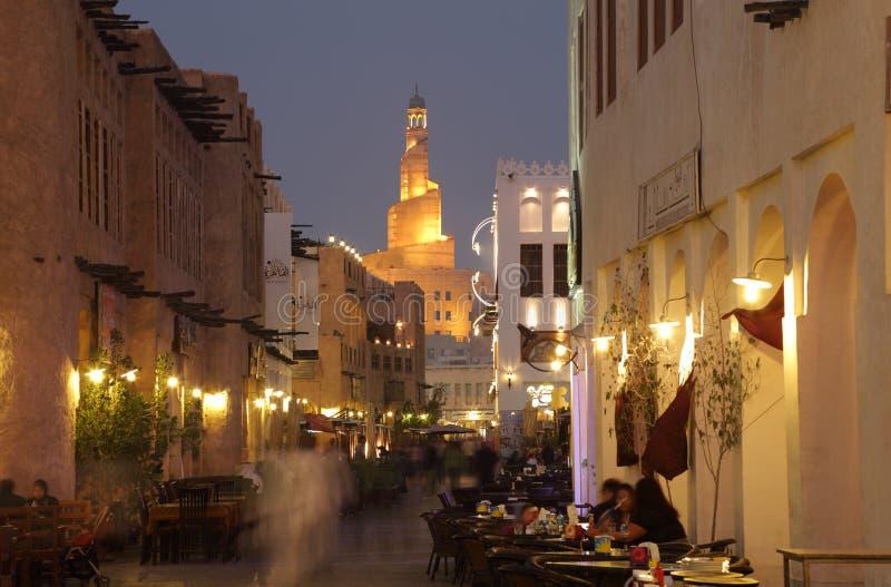 Souq Waqif przy półmrokiem, Doha Katar obrazy stock