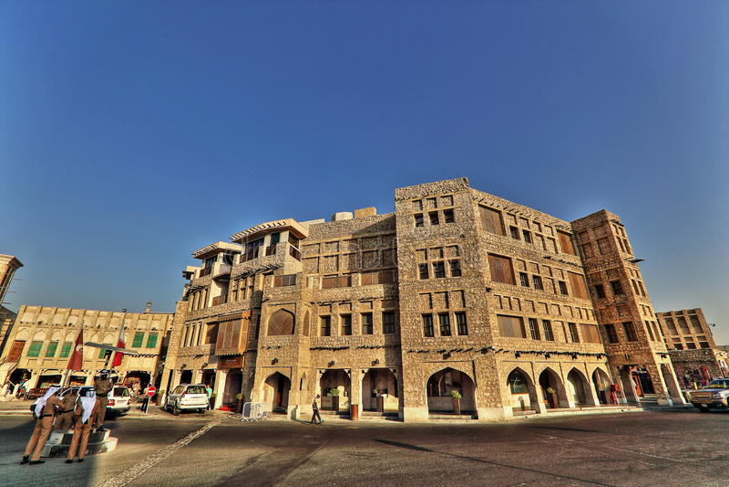 Souqmarkten in Doha stock afbeelding