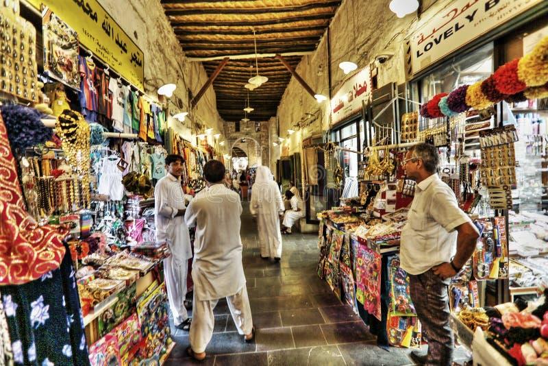 Souqmarkten in Doha stock foto's