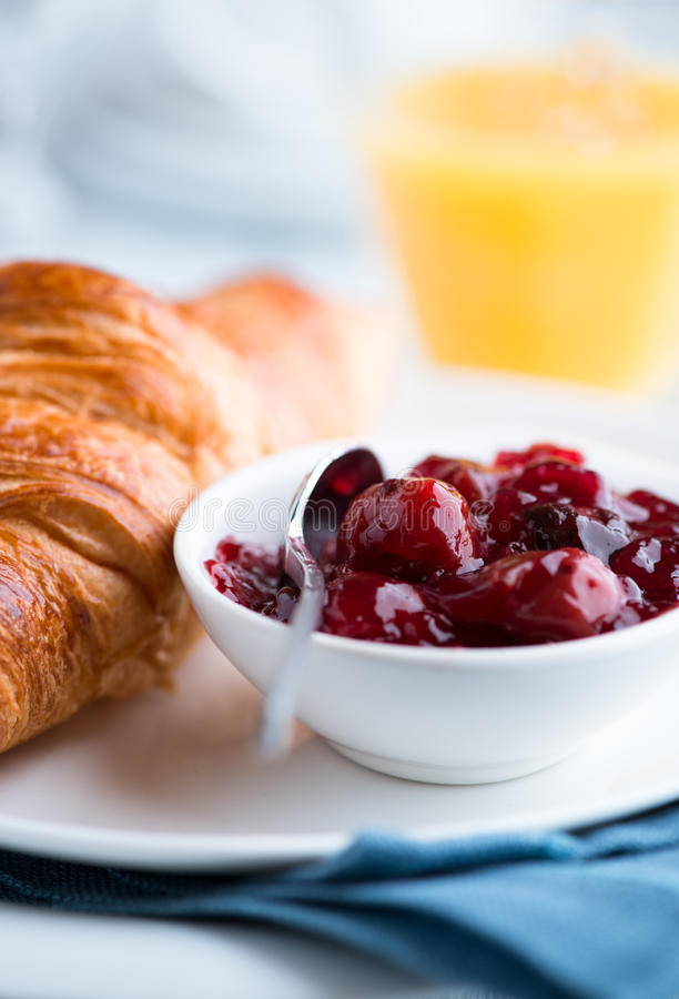 Free Sour Cherry Jam And Croissant Royalty Free Stock Image - 25495706