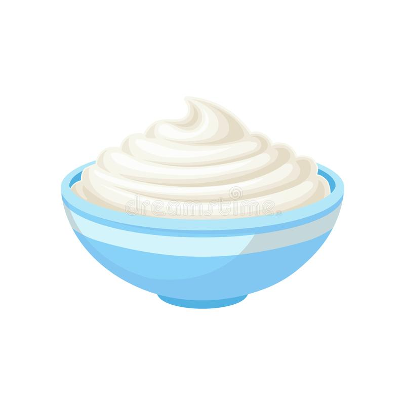 Sour cream in a bowl, healthy fresh dairy product vector Illustration on a white background stock illustration