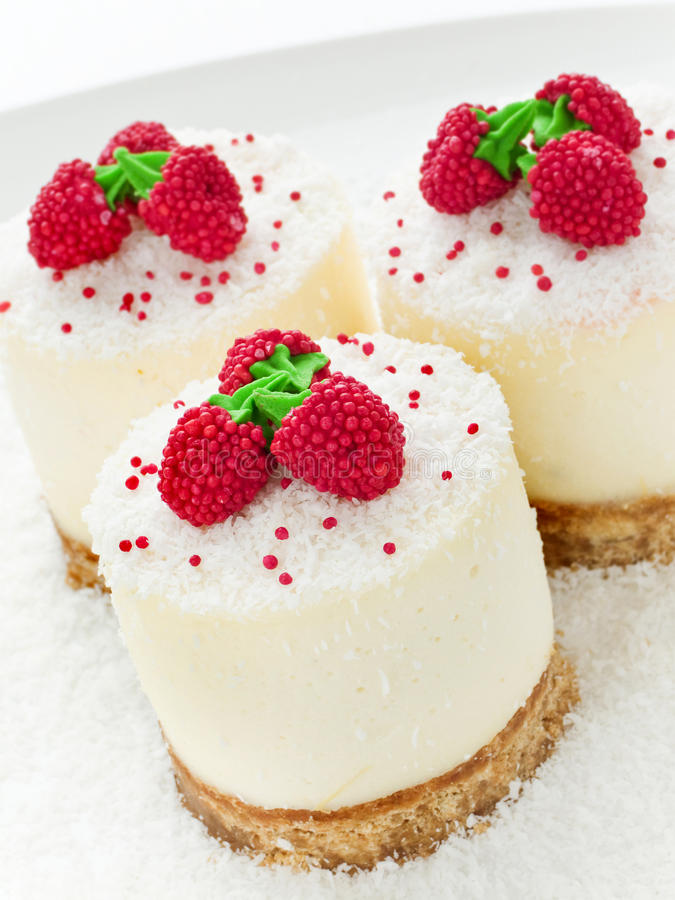 Sour cream cheesecakes stock photo