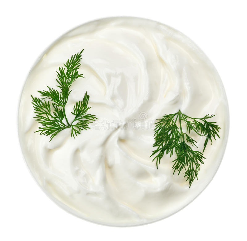 Sour cream in small round plate with dill twig royalty free stock photos
