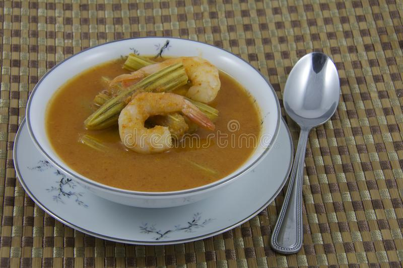 Sour curry moringa with shrimp. Thai food Sour curry moringa with shrimp royalty free stock photo