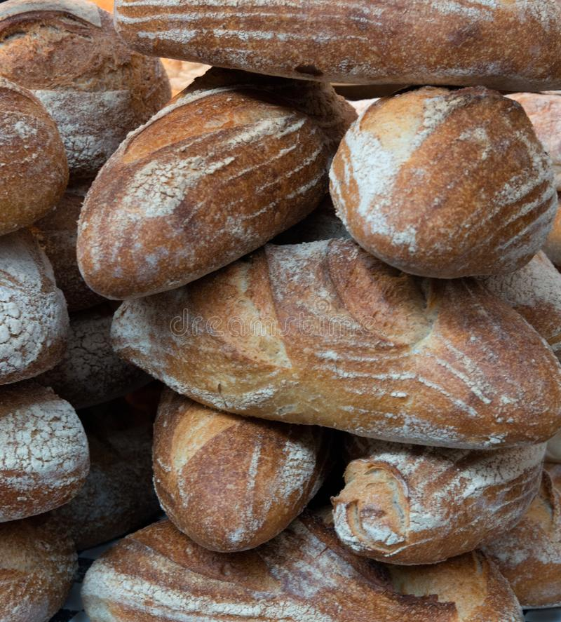 Sour Dough Loaves on a market stall royalty free stock photography