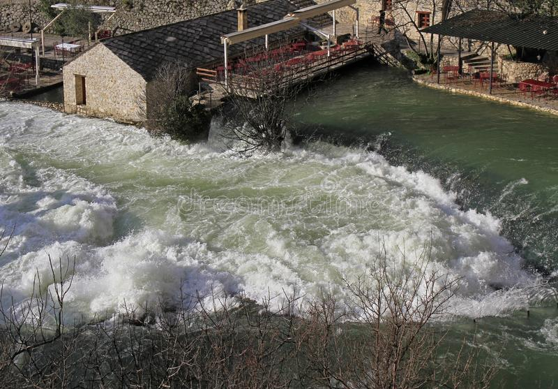 Source of Buna river in the city Blagaj royalty free stock images