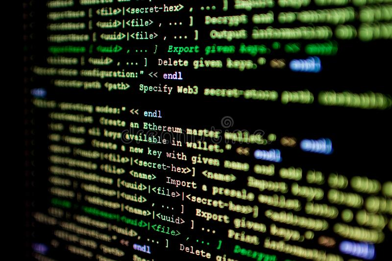 Source code of Ethereum, cryptocurrency and decentralized system royalty free stock photography