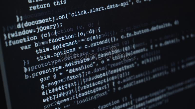 Source code or HTML code on screen of computer stock illustration