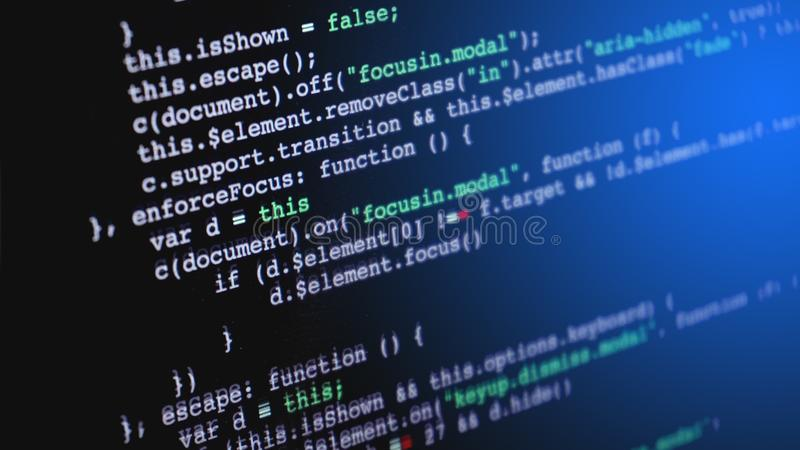 Source code programming on screen of computer royalty free stock images