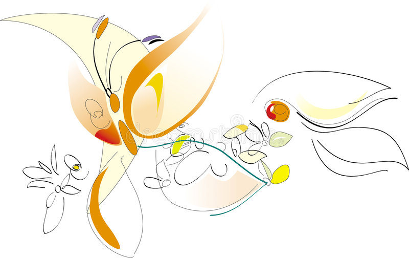Source - fleurs et guindineau - illustration artistique de vecteur illustration stock