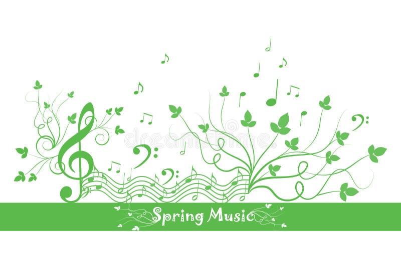 Source florale et musique illustration de vecteur