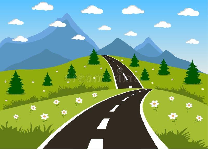 Source ou route d'été à la montagne illustration libre de droits