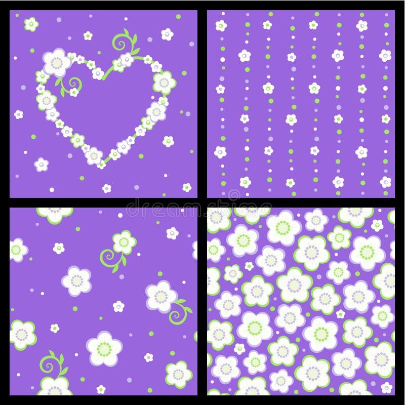 Source sans joint et configurations florales de Valentine illustration de vecteur
