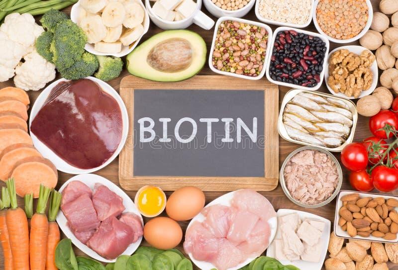 Sources de nourriture de biotine, vue supérieure photo stock