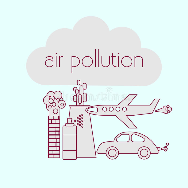 Sources de pollution atmosphérique illustration stock