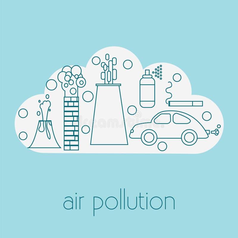 Sources de pollution atmosphérique illustration libre de droits