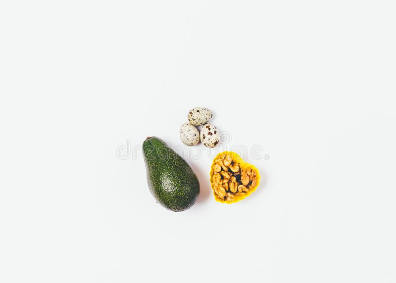 Sources of healthy fats flat lay royalty free stock images