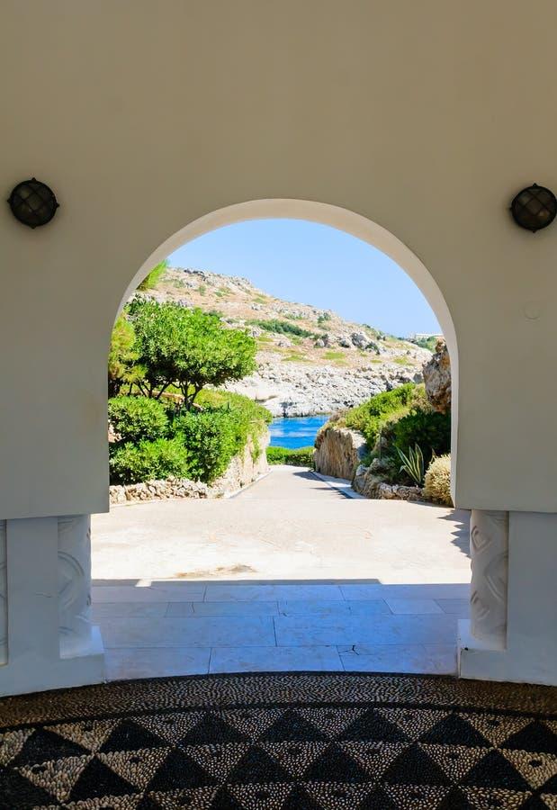 Sources thermales de Kallithea (Terme Kalithea) Île de Rhodes Le GR image libre de droits