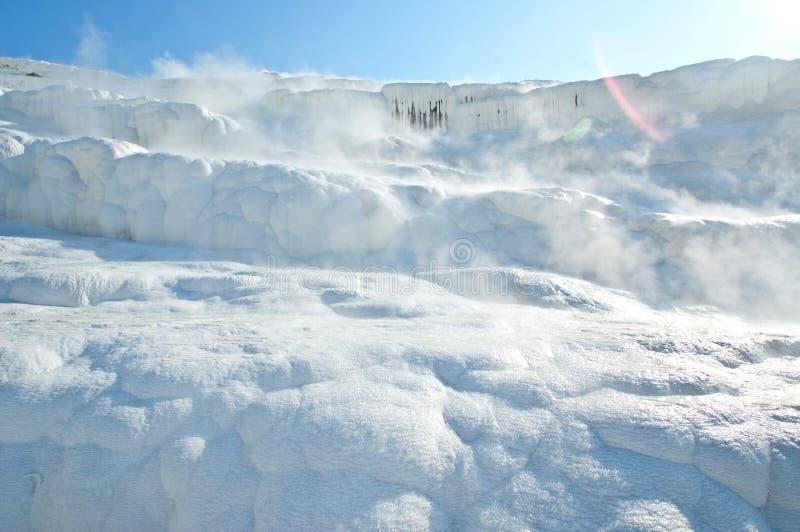 Sources thermales de Pamukkale avec des terrasses et des piscines naturelles images stock