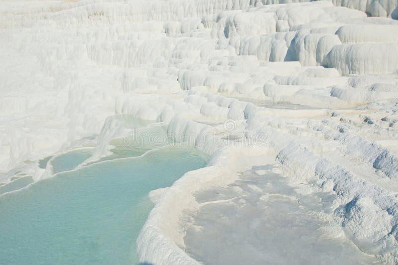 Sources thermales de Pamukkale avec des terrasses et des piscines naturelles photo libre de droits