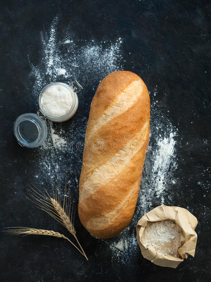 Free Sourdough Bloomer Or Baton Loaf Bread Stock Photography - 183287632