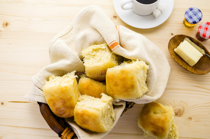 Sourdough bread. Freshly baked sourdough dinner rolls on the table royalty free stock photos