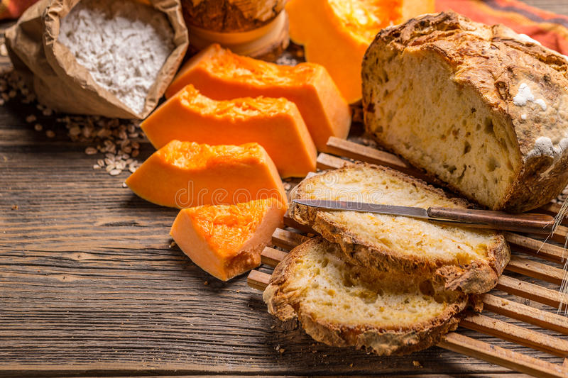 Sourdough bread. With pumpkin, kickshow food royalty free stock photos