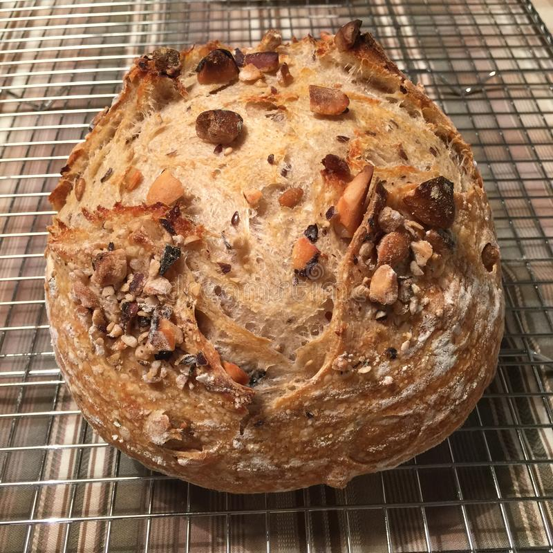 Sourdough chleb z dokrętkami zdjęcia stock