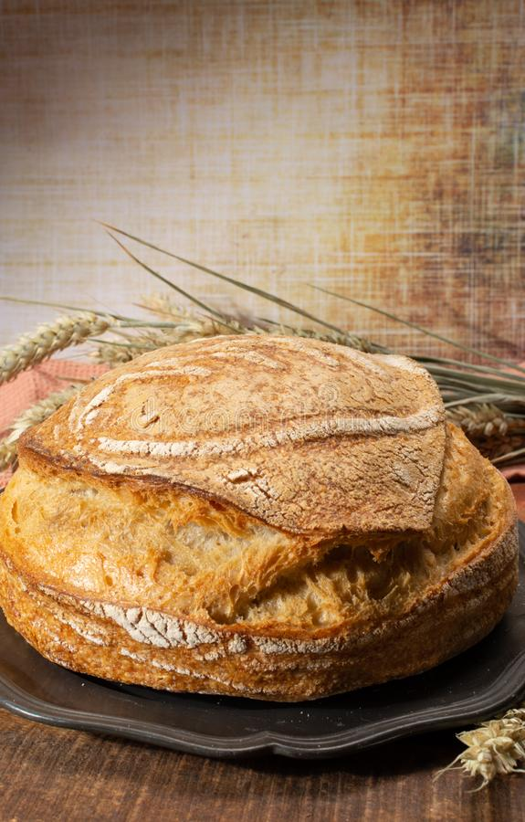 Sourdough homemade round white wheat bread close up. In Italy stock images